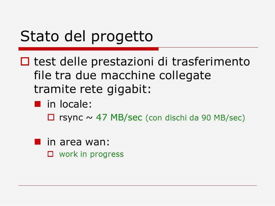 Stato del progetto test delle prestazioni di trasferimento file tra due macchine collegate tramite rete gigabit: in locale: rsync ~ 47 MB/sec (con dischi da 90 MB/sec) in area wan: work in progress