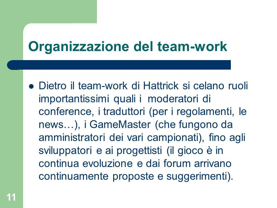 11 Organizzazione del team-work Dietro il team-work di Hattrick si celano ruoli importantissimi quali i moderatori di conference, i traduttori (per i