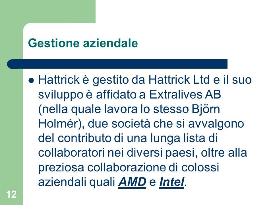 12 Hattrick è gestito da Hattrick Ltd e il suo sviluppo è affidato a Extralives AB (nella quale lavora lo stesso Björn Holmér), due società che si avv