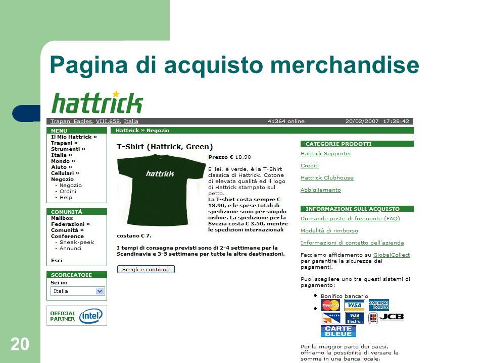 20 Pagina di acquisto merchandise