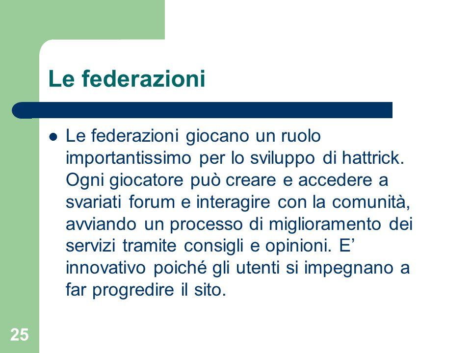 25 Le federazioni Le federazioni giocano un ruolo importantissimo per lo sviluppo di hattrick. Ogni giocatore può creare e accedere a svariati forum e