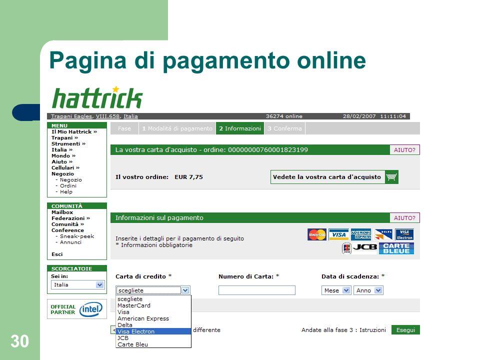 30 Pagina di pagamento online