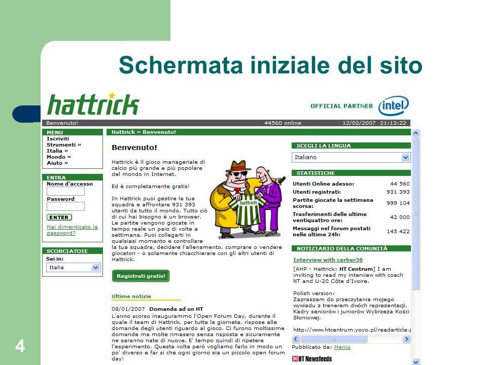4 Schermata iniziale del sito