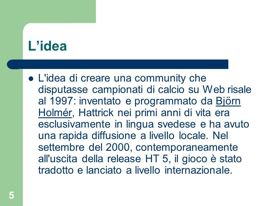 5 Lidea L'idea di creare una community che disputasse campionati di calcio su Web risale al 1997: inventato e programmato da Björn Holmér, Hattrick ne