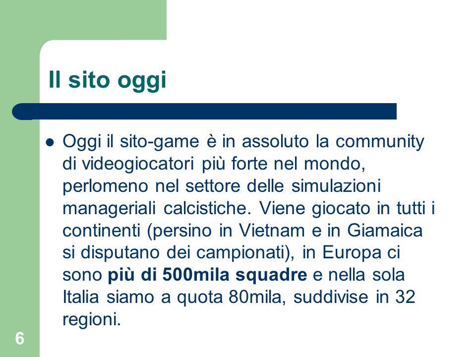 6 Il sito oggi Oggi il sito-game è in assoluto la community di videogiocatori più forte nel mondo, perlomeno nel settore delle simulazioni manageriali
