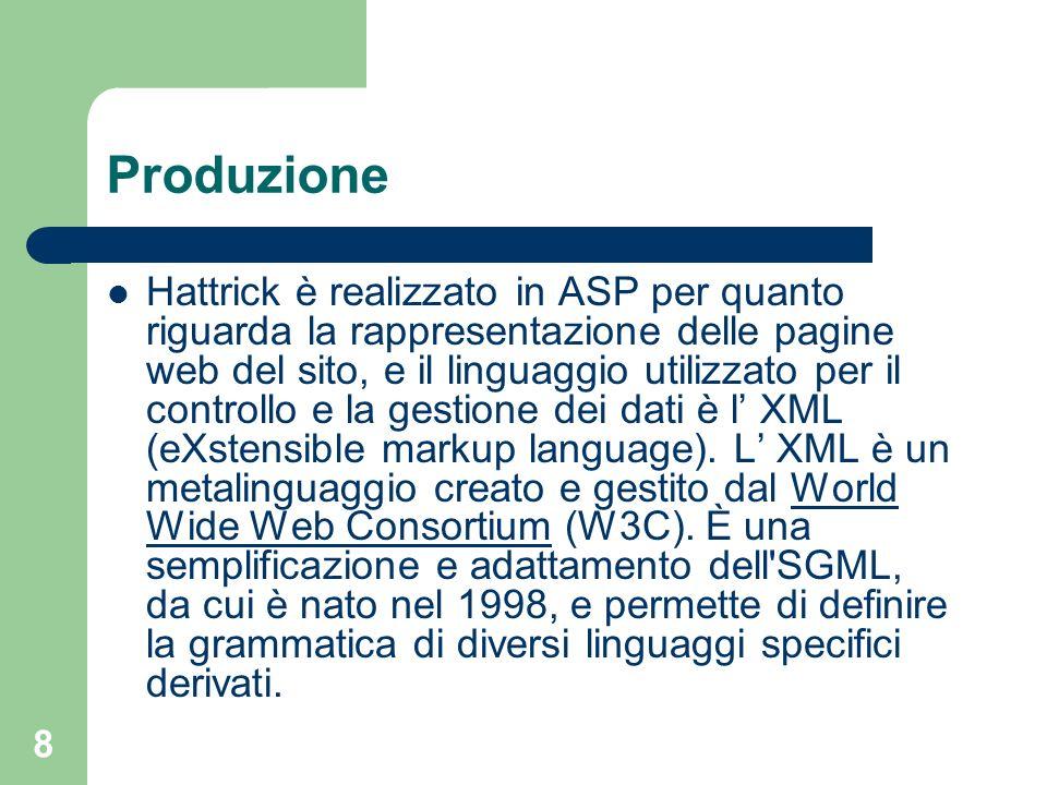 8 Produzione Hattrick è realizzato in ASP per quanto riguarda la rappresentazione delle pagine web del sito, e il linguaggio utilizzato per il control
