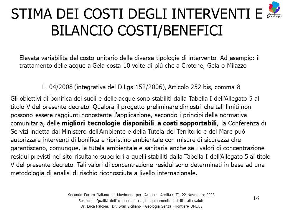 16 STIMA DEI COSTI DEGLI INTERVENTI E BILANCIO COSTI/BENEFICI Secondo Forum Italiano dei Movimenti per lAcqua - Aprilia (LT), 22 Novembre 2008 Session