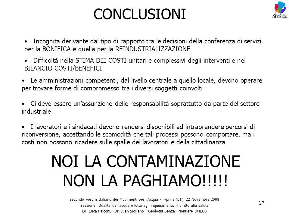 17 CONCLUSIONI Secondo Forum Italiano dei Movimenti per lAcqua - Aprilia (LT), 22 Novembre 2008 Sessione: Qualità dellacqua e lotta agli inquinamenti: