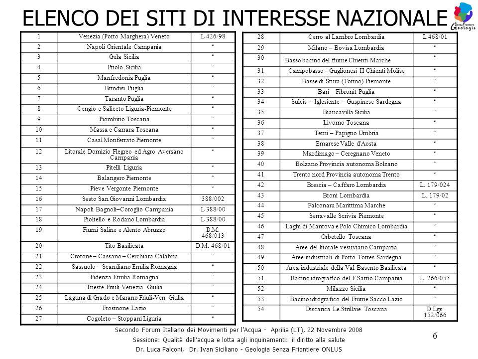 6 ELENCO DEI SITI DI INTERESSE NAZIONALE 1Venezia (Porto Marghera) VenetoL 426/98 2Napoli Orientale Campania 3Gela Sicilia 4Priolo Sicilia 5Manfredoni