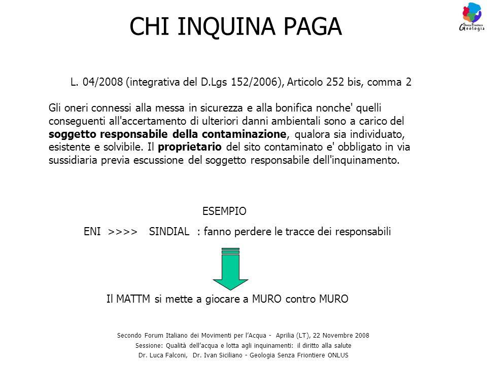 CHI INQUINA PAGA Secondo Forum Italiano dei Movimenti per lAcqua - Aprilia (LT), 22 Novembre 2008 Sessione: Qualità dellacqua e lotta agli inquinament
