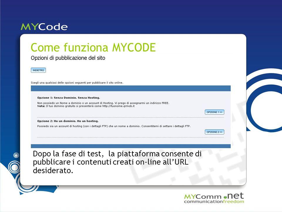 Come funziona MYCODE Dopo la fase di test, la piattaforma consente di pubblicare i contenuti creati on-line allURL desiderato.