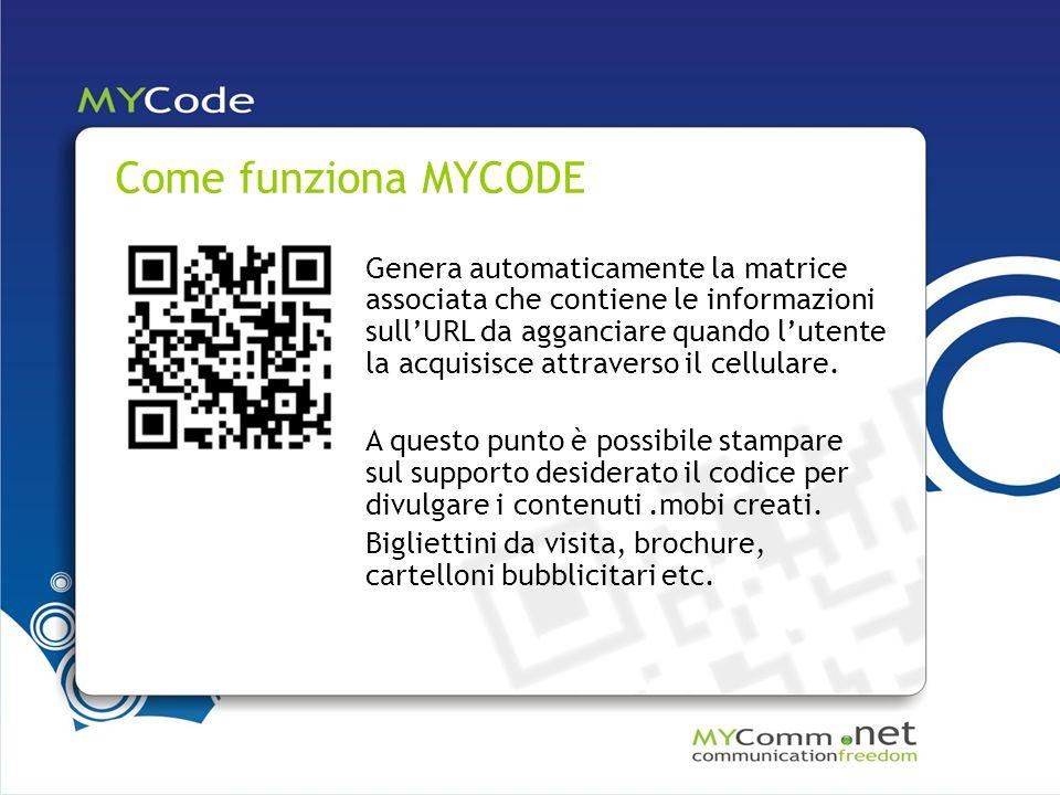 Come funziona MYCODE Genera automaticamente la matrice associata che contiene le informazioni sullURL da agganciare quando lutente la acquisisce attraverso il cellulare.