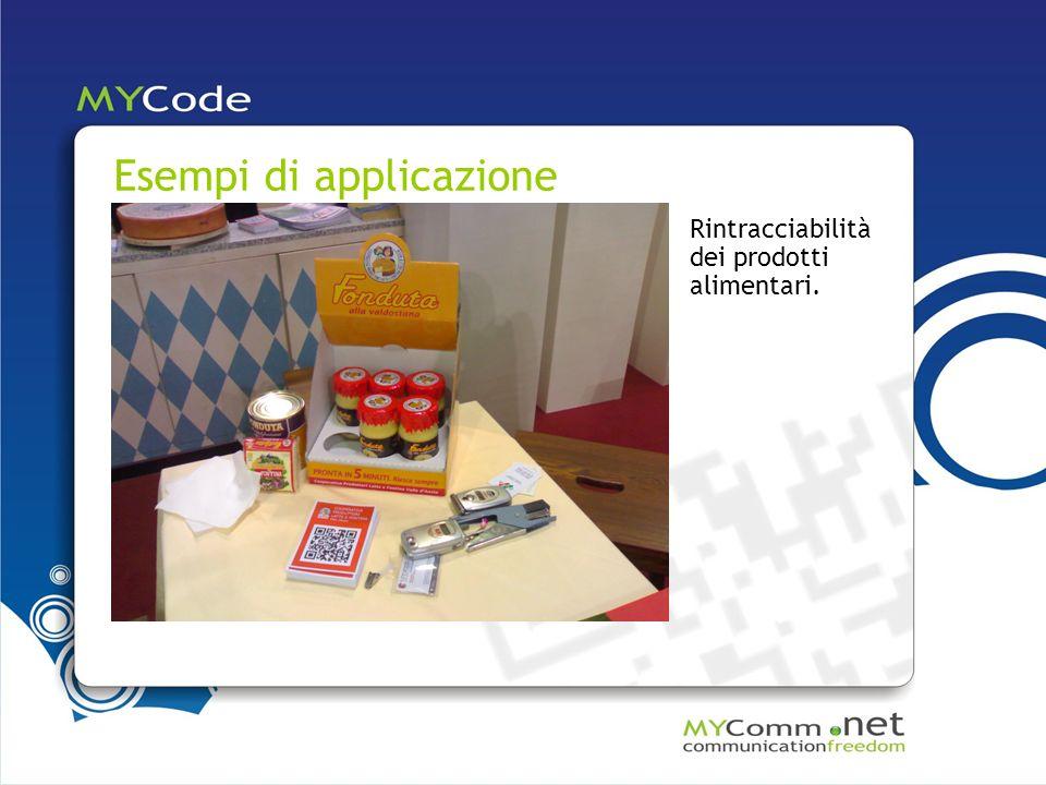 Esempi di applicazione Rintracciabilità dei prodotti alimentari.