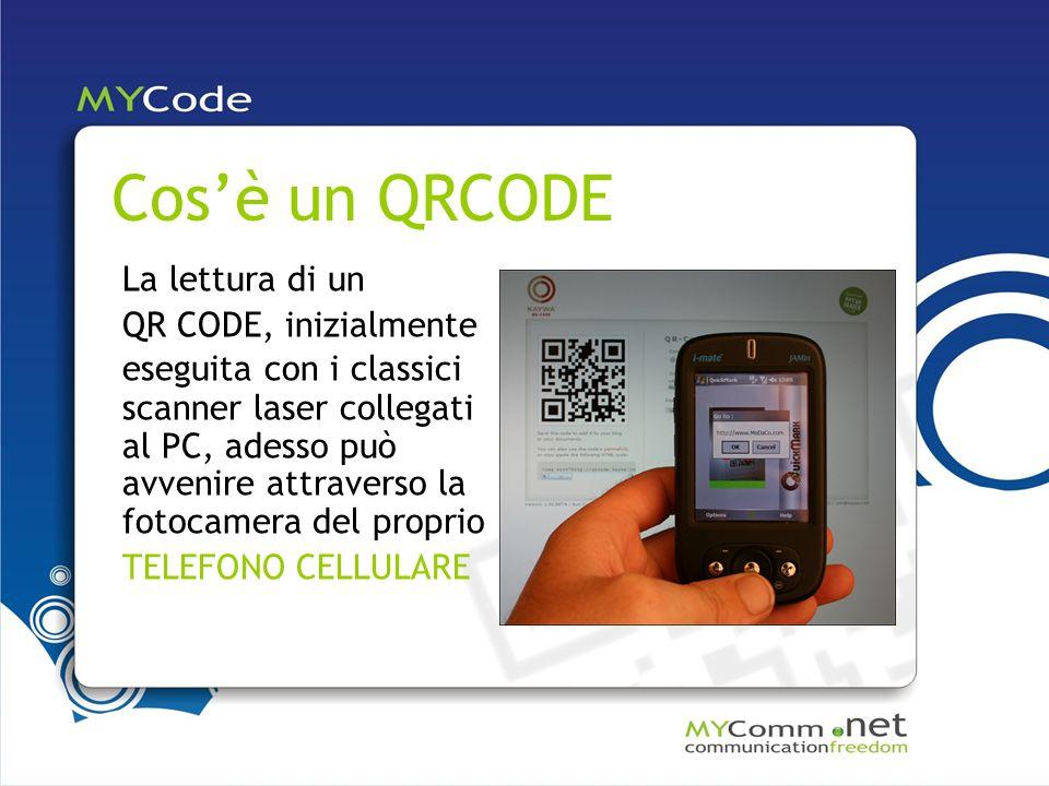 Cosè un QRCODE La lettura di un QR CODE, inizialmente eseguita con i classici scanner laser collegati al PC, adesso può avvenire attraverso la fotocamera del proprio TELEFONO CELLULARE