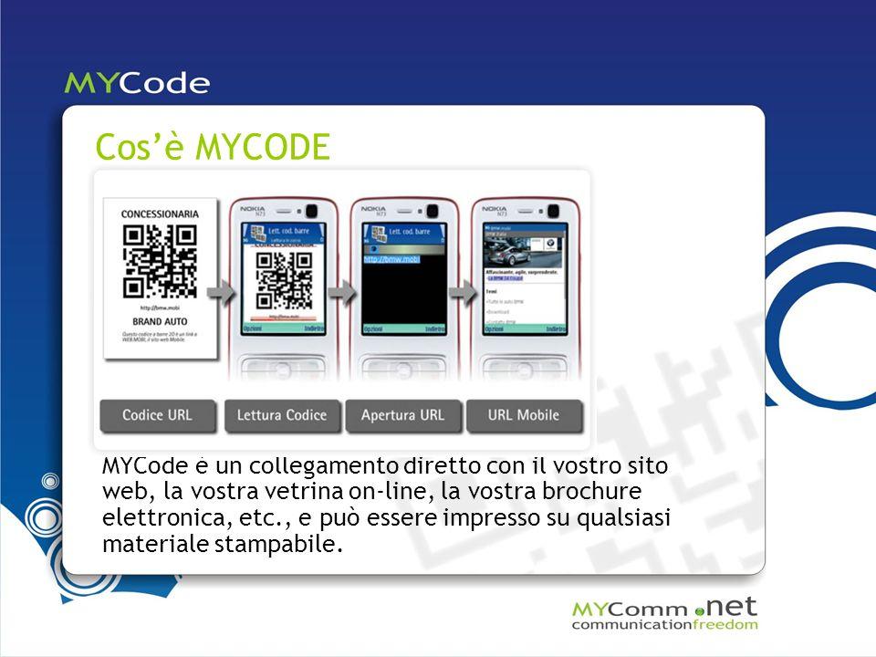 MYCode è un collegamento diretto con il vostro sito web, la vostra vetrina on-line, la vostra brochure elettronica, etc., e può essere impresso su qualsiasi materiale stampabile.