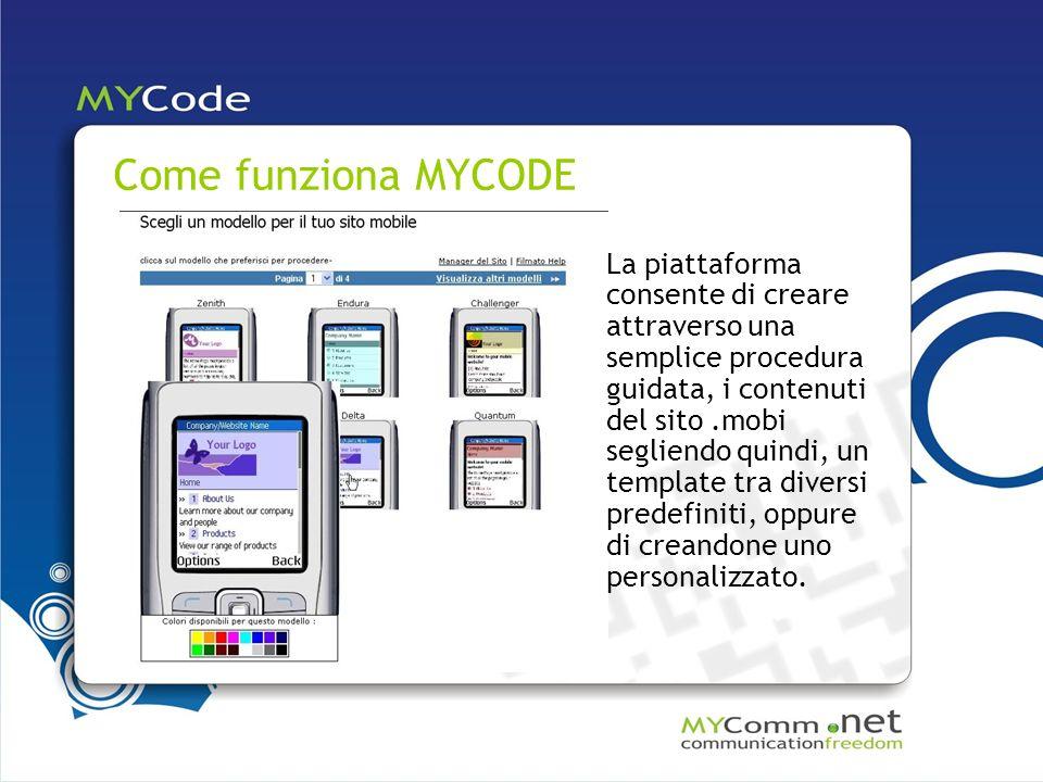 Come funziona MYCODE La piattaforma consente di creare attraverso una semplice procedura guidata, i contenuti del sito.mobi segliendo quindi, un template tra diversi predefiniti, oppure di creandone uno personalizzato.