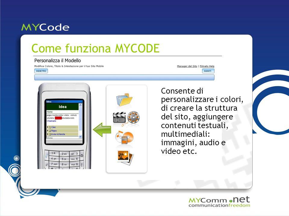 Come funziona MYCODE Consente di personalizzare i colori, di creare la struttura del sito, aggiungere contenuti testuali, multimediali: immagini, audio e video etc.