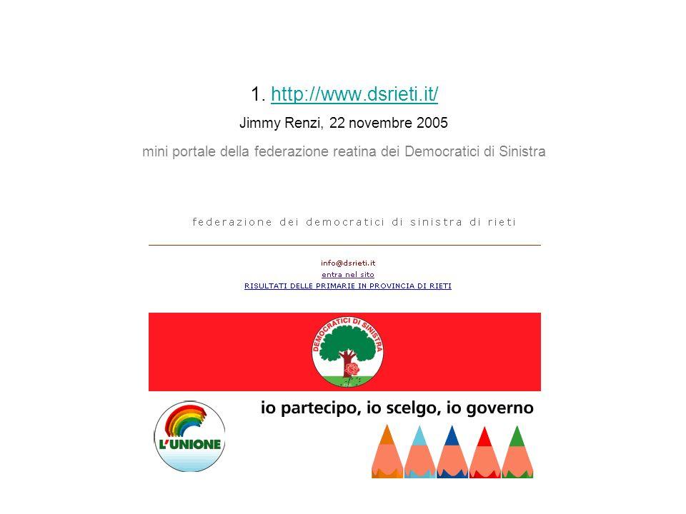 1. http://www.dsrieti.it/ Jimmy Renzi, 22 novembre 2005 mini portale della federazione reatina dei Democratici di Sinistrahttp://www.dsrieti.it/