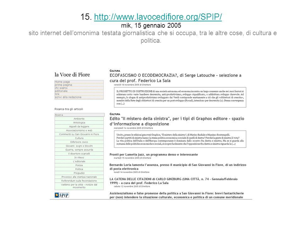 15. http://www.lavocedifiore.org/SPIP/ mik, 15 gennaio 2005 sito internet dellomonima testata giornalistica che si occupa, tra le altre cose, di cultu