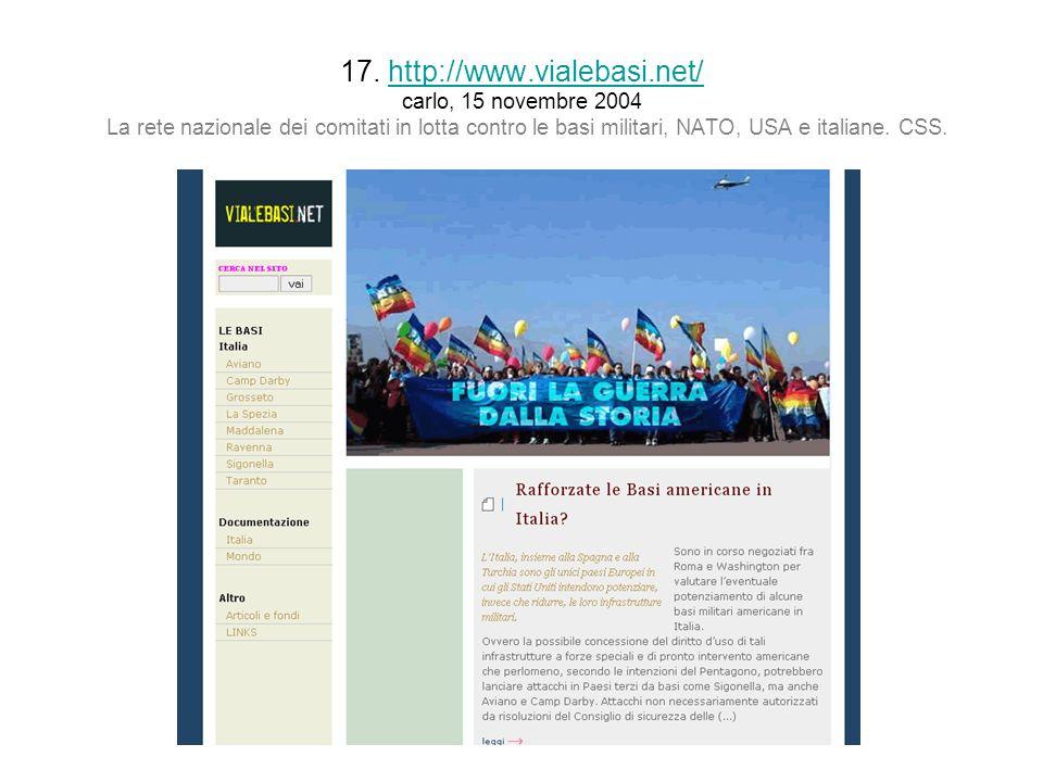 17. http://www.vialebasi.net/ carlo, 15 novembre 2004 La rete nazionale dei comitati in lotta contro le basi militari, NATO, USA e italiane. CSS.http: