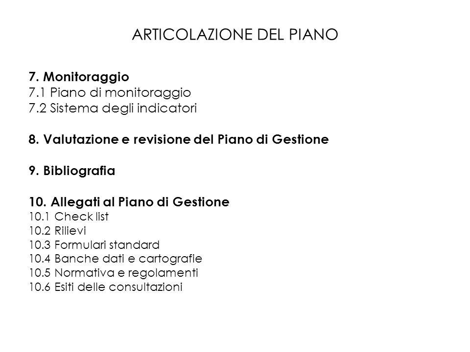 ARTICOLAZIONE DEL PIANO 7. Monitoraggio 7.1 Piano di monitoraggio 7.2 Sistema degli indicatori 8. Valutazione e revisione del Piano di Gestione 9. Bib