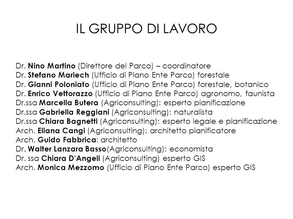 IL GRUPPO DI LAVORO Dr. Nino Martino (Direttore del Parco) – coordinatore Dr. Stefano Mariech (Ufficio di Piano Ente Parco) forestale Dr. Gianni Polon