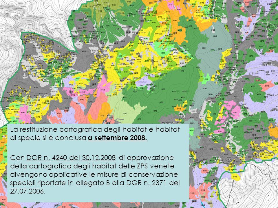 La restituzione cartografica degli habitat e habitat di specie si è conclusa a settembre 2008. Con DGR n. 4240 del 30.12.2008 di approvazione della ca