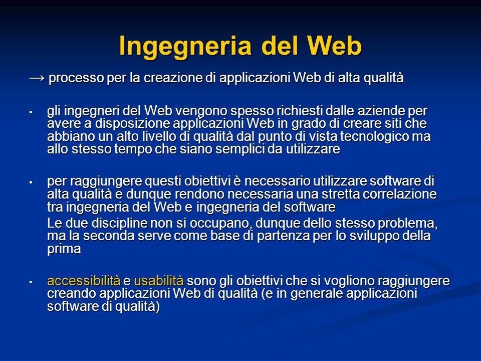 Ingegneria del Web processo per la creazione di applicazioni Web di alta qualità processo per la creazione di applicazioni Web di alta qualità gli ingegneri del Web vengono spesso richiesti dalle aziende per avere a disposizione applicazioni Web in grado di creare siti che abbiano un alto livello di qualità dal punto di vista tecnologico ma allo stesso tempo che siano semplici da utilizzare gli ingegneri del Web vengono spesso richiesti dalle aziende per avere a disposizione applicazioni Web in grado di creare siti che abbiano un alto livello di qualità dal punto di vista tecnologico ma allo stesso tempo che siano semplici da utilizzare per raggiungere questi obiettivi è necessario utilizzare software di alta qualità e dunque rendono necessaria una stretta correlazione tra ingegneria del Web e ingegneria del software per raggiungere questi obiettivi è necessario utilizzare software di alta qualità e dunque rendono necessaria una stretta correlazione tra ingegneria del Web e ingegneria del software Le due discipline non si occupano, dunque dello stesso problema, ma la seconda serve come base di partenza per lo sviluppo della prima accessibilità e usabilità sono gli obiettivi che si vogliono raggiungere creando applicazioni Web di qualità (e in generale applicazioni software di qualità) accessibilità e usabilità sono gli obiettivi che si vogliono raggiungere creando applicazioni Web di qualità (e in generale applicazioni software di qualità)
