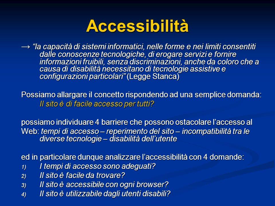 Accessibilità la capacità di sistemi informatici, nelle forme e nei limiti consentiti dalle conoscenze tecnologiche, di erogare servizi e fornire info