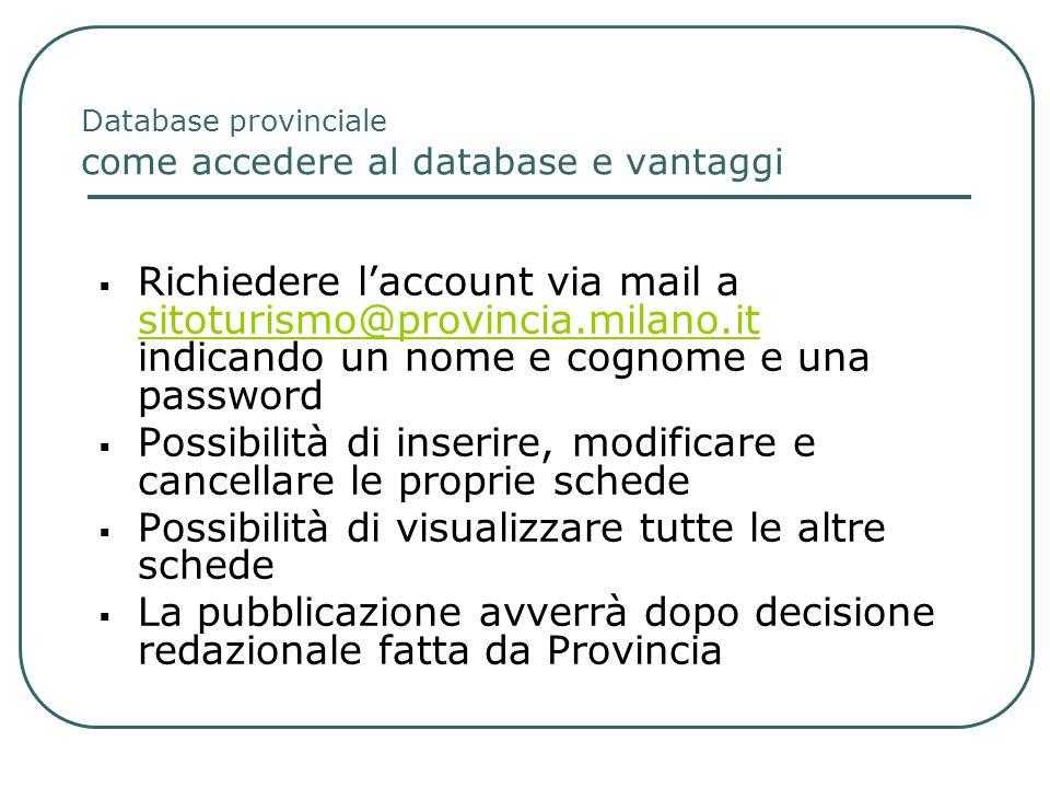 Database provinciale come accedere al database e vantaggi Richiedere laccount via mail a sitoturismo@provincia.milano.it indicando un nome e cognome e