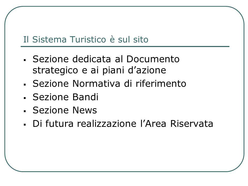 Il Sistema Turistico è sul sito Sezione dedicata al Documento strategico e ai piani dazione Sezione Normativa di riferimento Sezione Bandi Sezione New