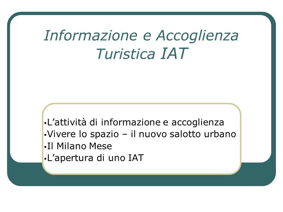 Informazione e Accoglienza Turistica IAT Lattività di informazione e accoglienza Vivere lo spazio – il nuovo salotto urbano Il Milano Mese Lapertura d