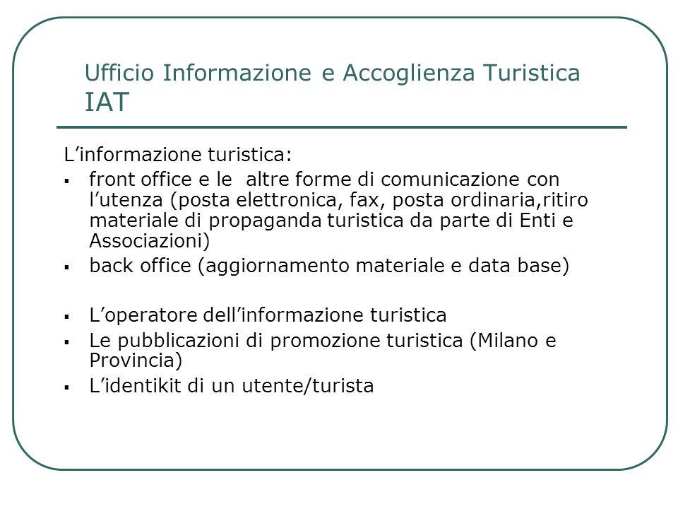 Ufficio Informazione e Accoglienza Turistica IAT Linformazione turistica: front office e le altre forme di comunicazione con lutenza (posta elettronic
