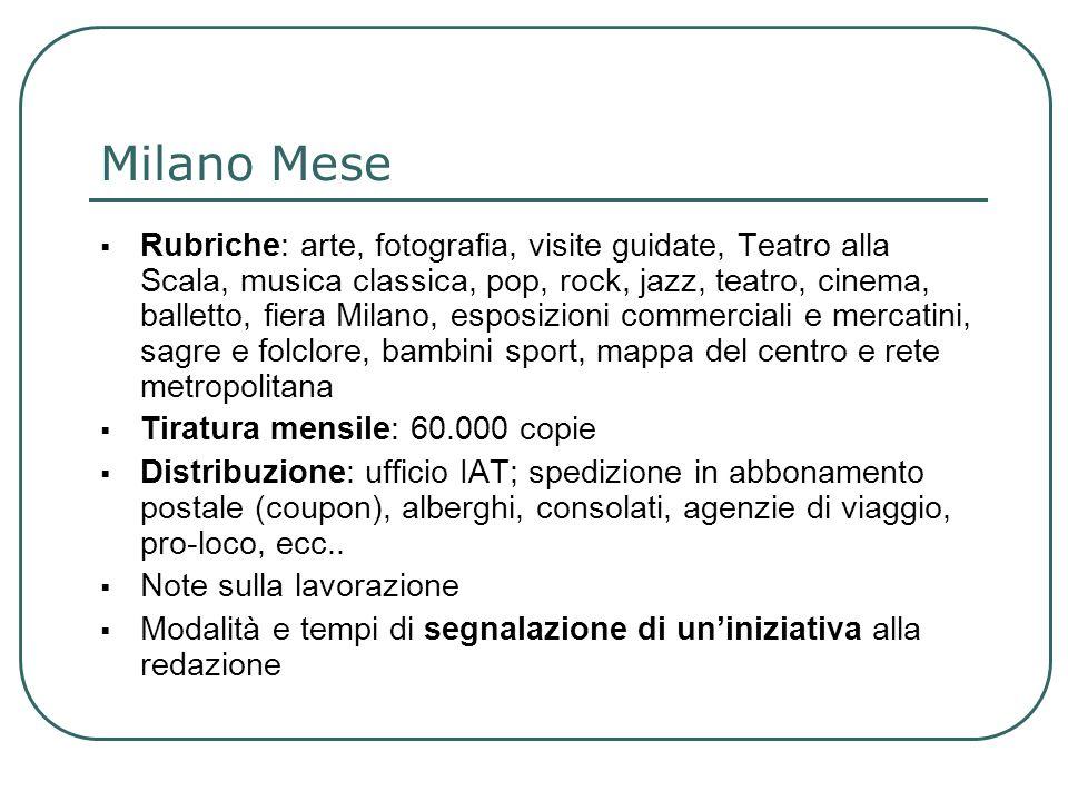 Rubriche: arte, fotografia, visite guidate, Teatro alla Scala, musica classica, pop, rock, jazz, teatro, cinema, balletto, fiera Milano, esposizioni c