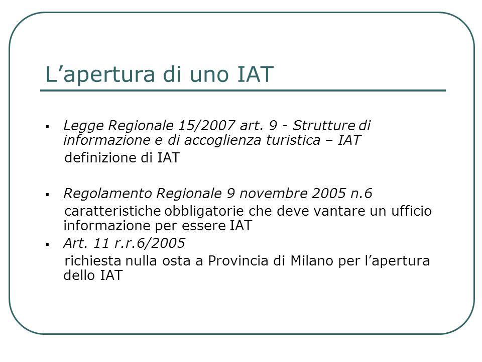 Lapertura di uno IAT Legge Regionale 15/2007 art. 9 - Strutture di informazione e di accoglienza turistica – IAT definizione di IAT Regolamento Region