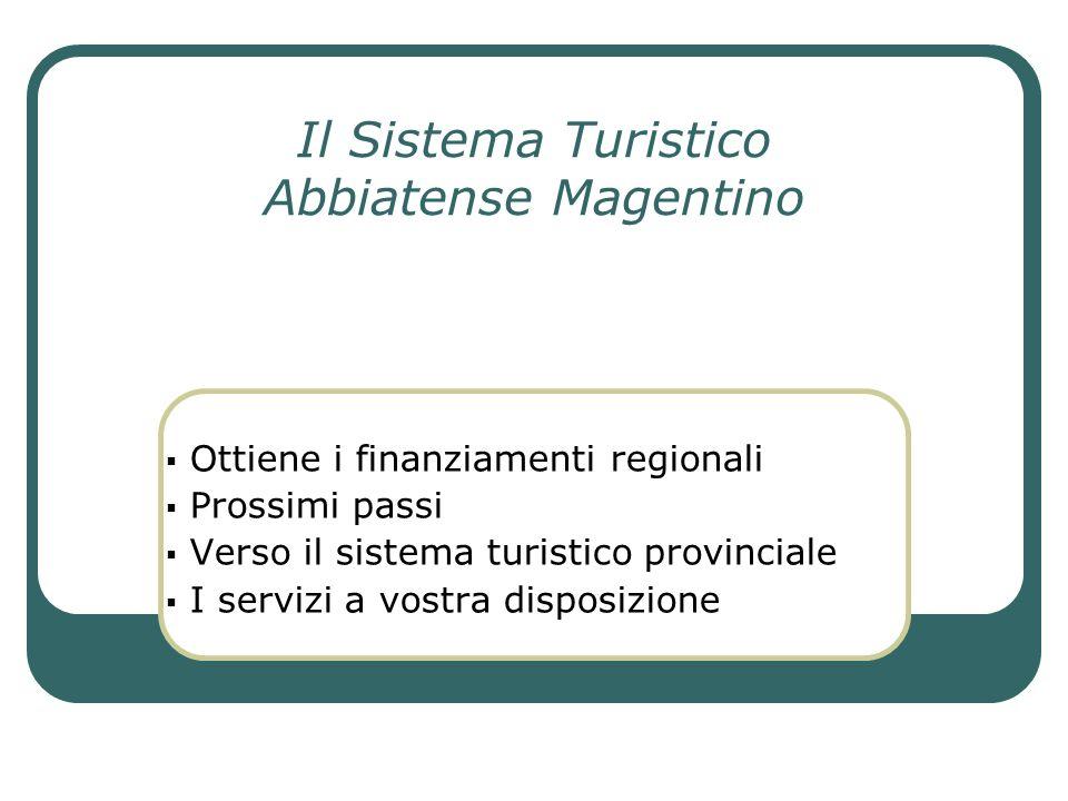 Il Sistema Turistico Abbiatense Magentino Ottiene i finanziamenti regionali Prossimi passi Verso il sistema turistico provinciale I servizi a vostra d