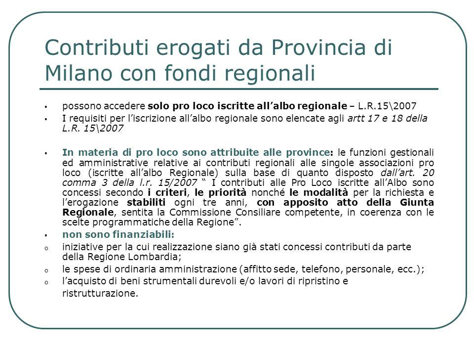 Contributi erogati da Provincia di Milano con fondi regionali possono accedere solo pro loco iscritte allalbo regionale – L.R.15\2007 I requisiti per