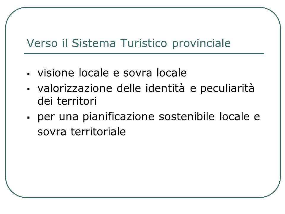 Verso il Sistema Turistico provinciale visione locale e sovra locale valorizzazione delle identità e peculiarità dei territori per una pianificazione