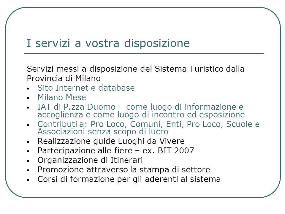I servizi a vostra disposizione Servizi messi a disposizione del Sistema Turistico dalla Provincia di Milano Sito Internet e database Milano Mese IAT