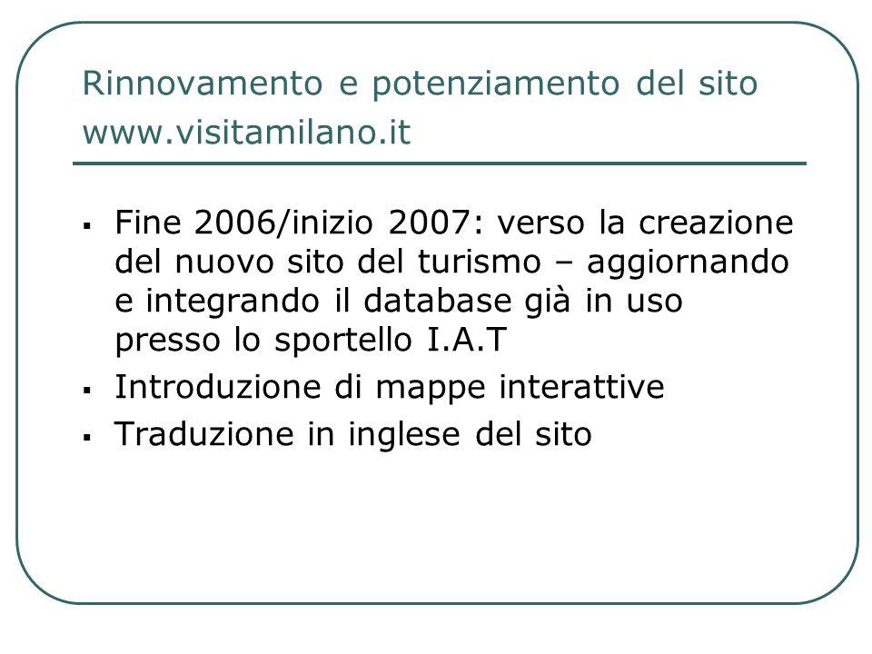 Rinnovamento e potenziamento del sito www.visitamilano.it Fine 2006/inizio 2007: verso la creazione del nuovo sito del turismo – aggiornando e integra