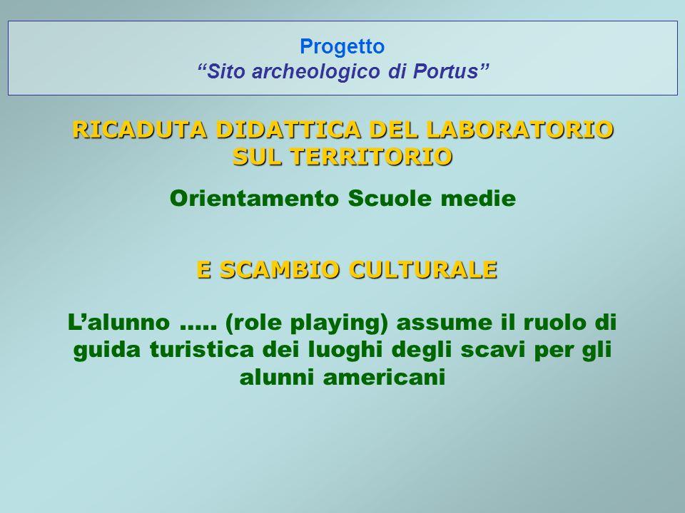 Progetto Sito archeologico di Portus RICADUTA DIDATTICA DEL LABORATORIO SUL TERRITORIO Orientamento Scuole medie E SCAMBIO CULTURALE Lalunno …..