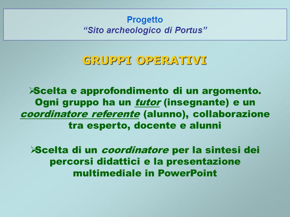 Progetto Sito archeologico di Portus GRUPPI OPERATIVI Scelta e approfondimento di un argomento.