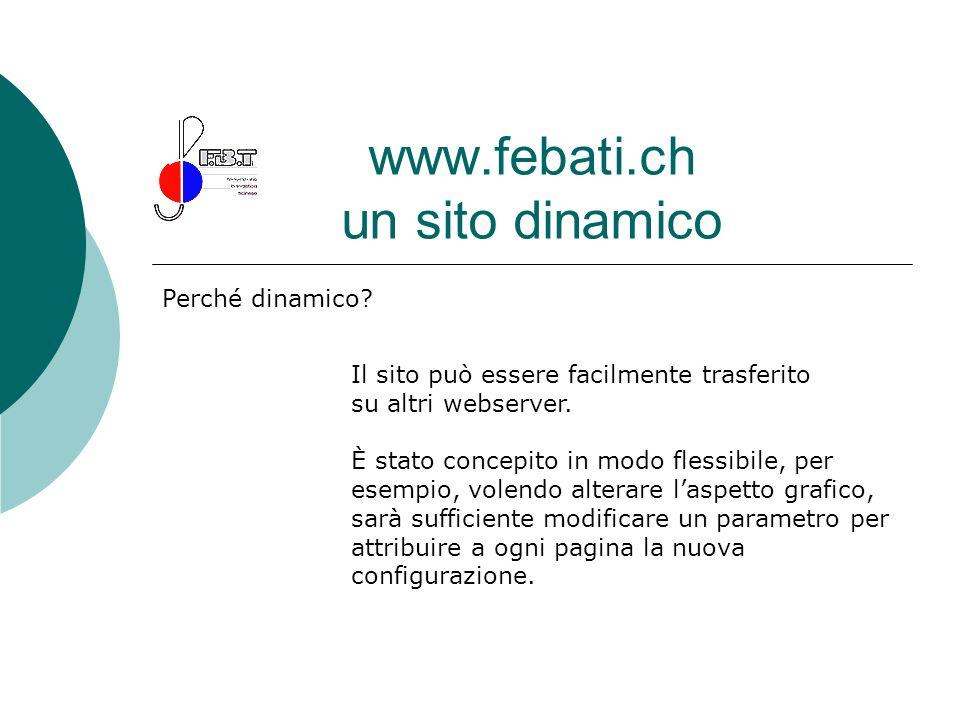 www.febati.ch un sito dinamico Perché dinamico? Il sito può essere facilmente trasferito su altri webserver. È stato concepito in modo flessibile, per