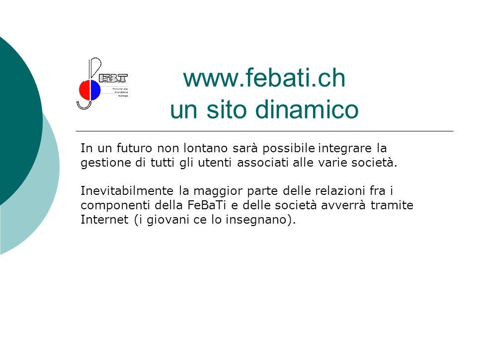 www.febati.ch un sito dinamico In un futuro non lontano sarà possibile integrare la gestione di tutti gli utenti associati alle varie società. Inevita
