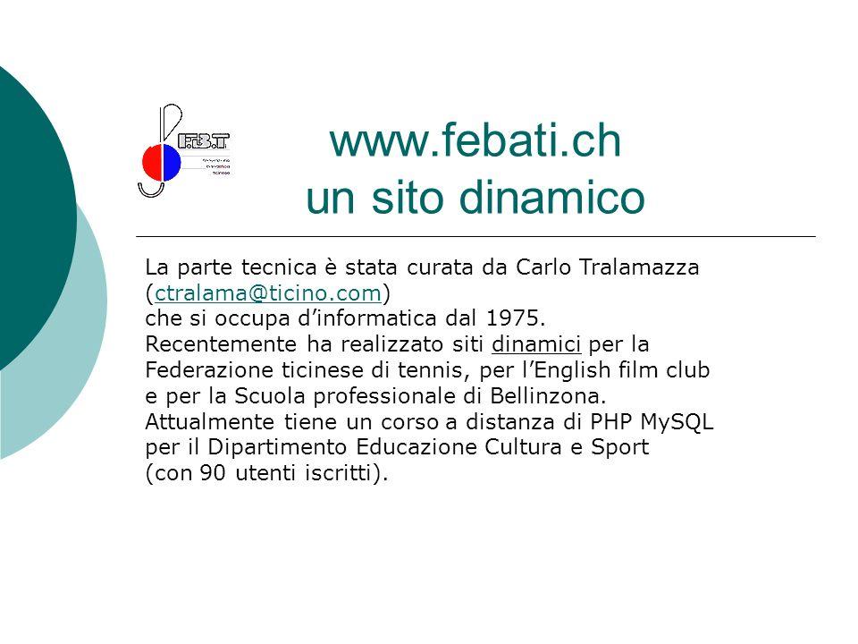 www.febati.ch un sito dinamico La parte tecnica è stata curata da Carlo Tralamazza (ctralama@ticino.com)ctralama@ticino.com che si occupa dinformatica
