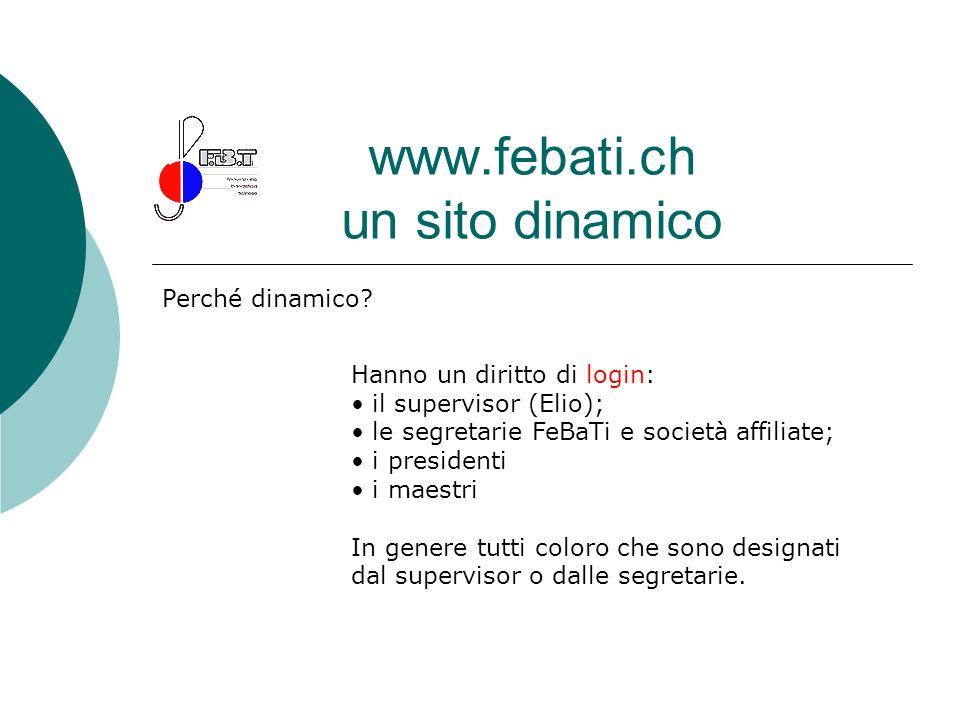 www.febati.ch un sito dinamico Perché dinamico? Hanno un diritto di login: il supervisor (Elio); le segretarie FeBaTi e società affiliate; i president