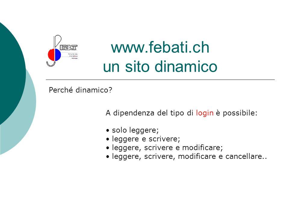 www.febati.ch un sito dinamico Perché dinamico? A dipendenza del tipo di login è possibile: solo leggere; leggere e scrivere; leggere, scrivere e modi