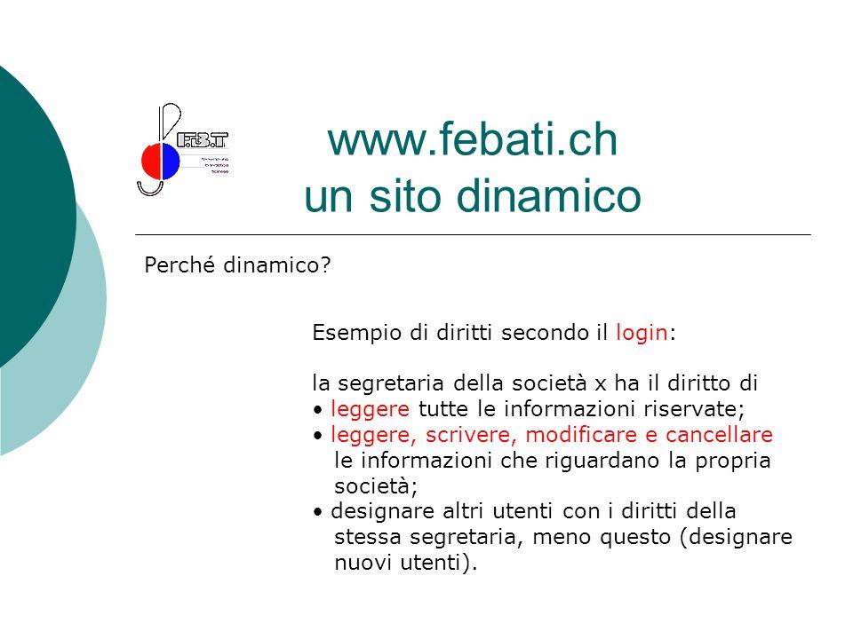 www.febati.ch un sito dinamico Perché dinamico? Esempio di diritti secondo il login: la segretaria della società x ha il diritto di leggere tutte le i