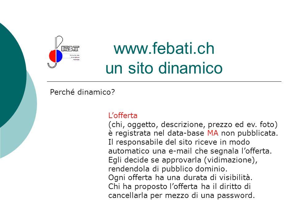 www.febati.ch un sito dinamico Perché dinamico? Lofferta (chi, oggetto, descrizione, prezzo ed ev. foto) è registrata nel data-base MA non pubblicata.