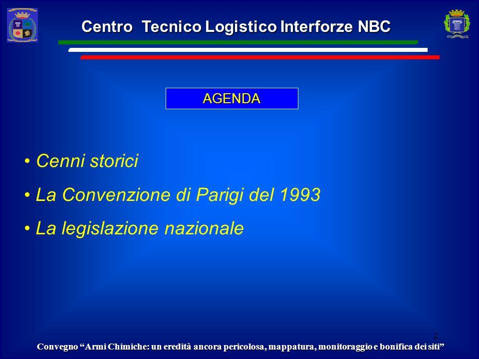 Ispezione dellOPCW presso il sito di Civitavecchia. LA CONVENZIONE DI PARIGI